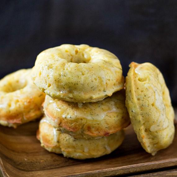 Lemon Dill Cornmeal Doughnuts