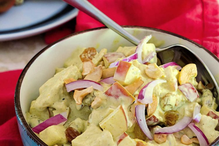 bowl of curried chicken salad