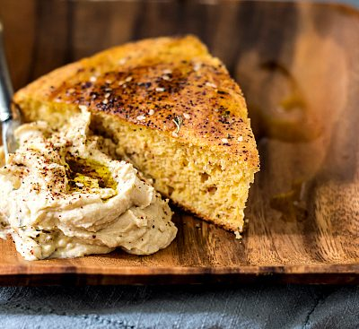 Southern Cornbread with Hummus and Za'atar | Sabra Tastemaker Factory Tour