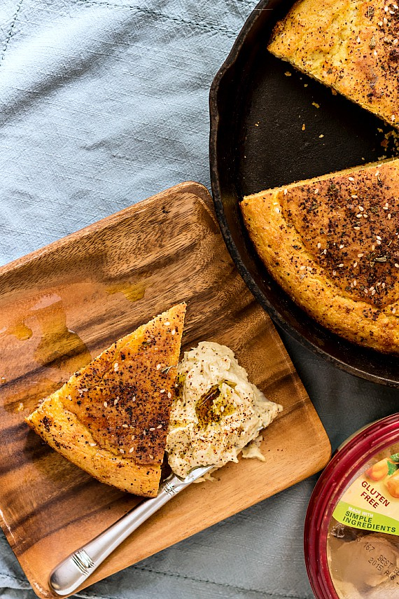 Southern Cornbread with Hummus and Za'atar | pastrychefonline.com