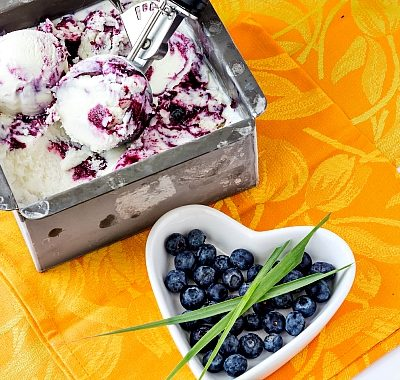 Blueberry Lemongrass Ice Cream | #ProgressiveEats