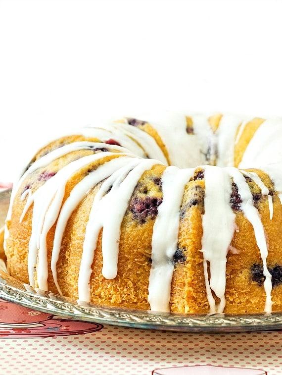 Blueberry lemongrass poundcake with glaze