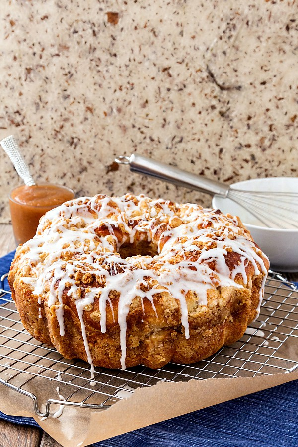 Yeasted Chai Spiced Apple Butter Coffee Cake, the best thing to happen to a cup of coffee since cream. | pastrychefonline.com