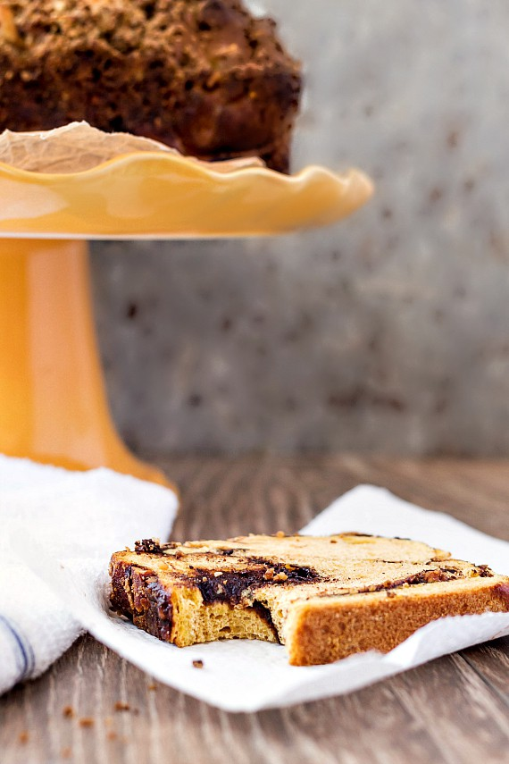 Pecan Streusel Pumpkin Brioche Babka: Everything there is to love about fall baking recipes wrapped up in one delicious package! | pastrychefonline.com