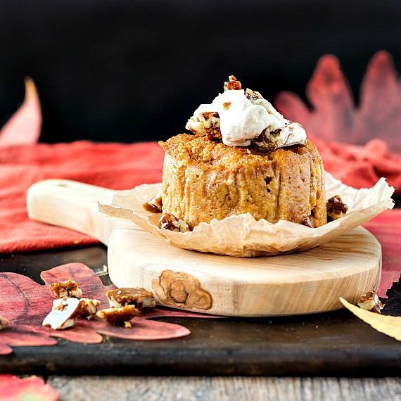 Pumpkin Butterscotch Angel Food Pudding with Butterscotch Pecans. More delicate than bread pudding but bursting with fall flavor. | pastrychefonline.com