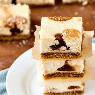 Maple Cinnamon Cheesecake Bars with Apple Butter Polka Dots