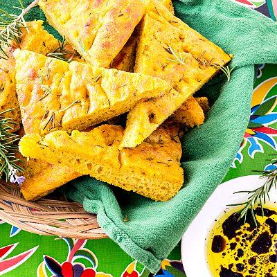 Roasted Pumpkin Herb Focaccia | Progressive Eats