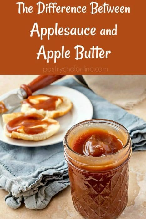 """jar of apple butter text reads """"The Difference between applesauce and apple butter"""""""