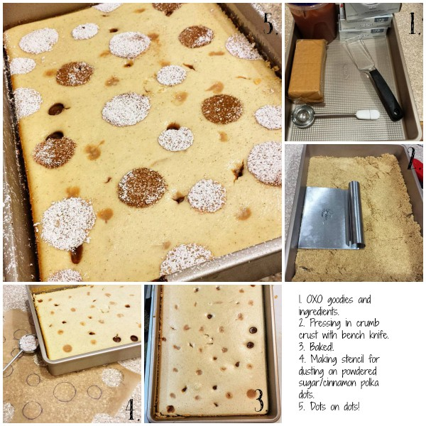 Maple Apple Butter Polka Dot Cheesecake Bars for OXO's Bake a Difference Campaign to benefit Cookies for Kids' Cancer. Full of fall flavors and not too sweet, the cheesecake is sweetened with real maple syrup, and there is very little refined sugar in the bars. With a couple of easy swaps, they could be refined sugar free. | pastrychefonline.com