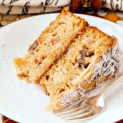Spiced Apple Cake with Pecans and Dulce de Leche