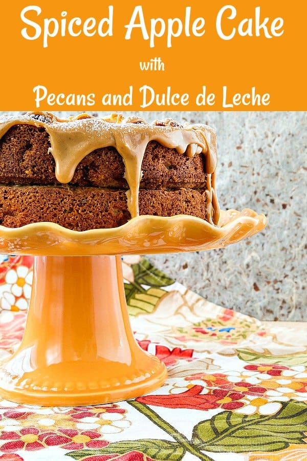 Looking for a Thanksgiving Dessert that is just a bit different from the standard pumpkin and pecan pies? This spiced apple cake is brimming with fall flavors, dried and fresh apples and toasted pecans. Drizzled with some dulce de leche, it is a wonderful addition to your Thanksgiving dessert table! #thanksgivingrecipes #applecake | pastrychefonline.com