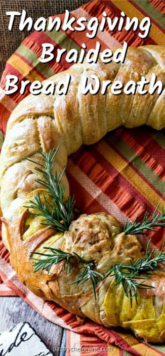 """pin image of braided bread wreath for thanksgiving. Text reads """"Thanksgiving braided bread wreath"""""""