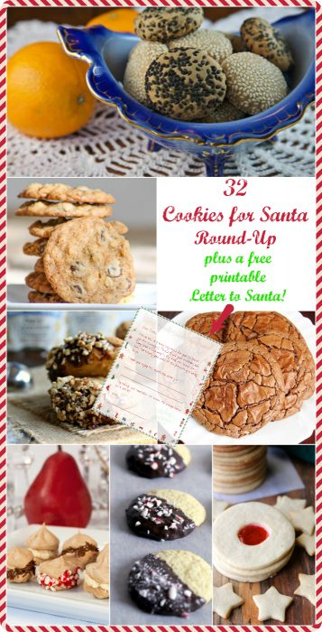 Christmas Eve is the longest night of the year for Santa, so help fuel him on his way by making him one (or more) of the cookie recipes in this Cookies for Santa Round-Up! You also get a printable letter to leave for Santa to let him know what you've made him. Enjoy! | pastrychefonline.com