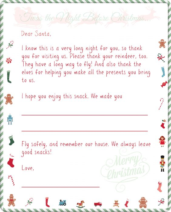 Download this free printable letter to Santa to let him know what kind of cookies you have left for him. After all, Christmas Eve is the longest night of the year for Santa, so be sure to fuel him on his way by making him one (or more) of the cookie recipes in this Cookies for Santa Round-Up! | pastrychefonline.com