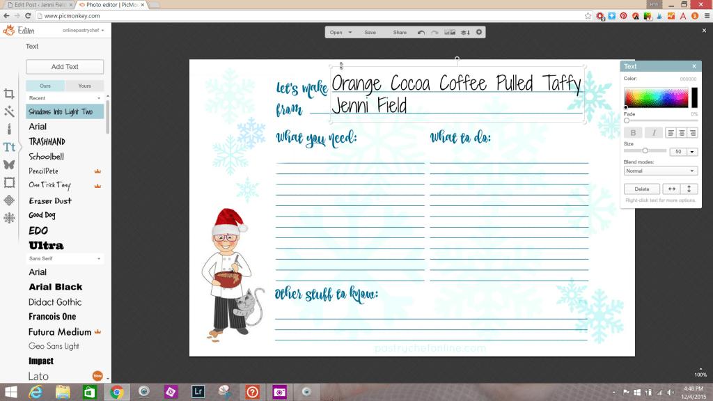 adding recipe name to recipe card using picmonkey