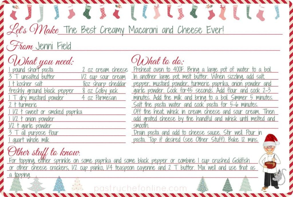 printable recipe card with the recipe for the best creamy mac and cheese written on it