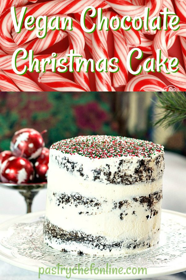 This vegan chocolate Christmas cake is so moist and delicious, you won't miss the eggs and dairy in the cake or in the frosting. Plus the red, green, and white sprinkles are a festive but understated touch for the holidays! #holidaybaking #vegandesserts #christmasbaking | pastrychefonline.com