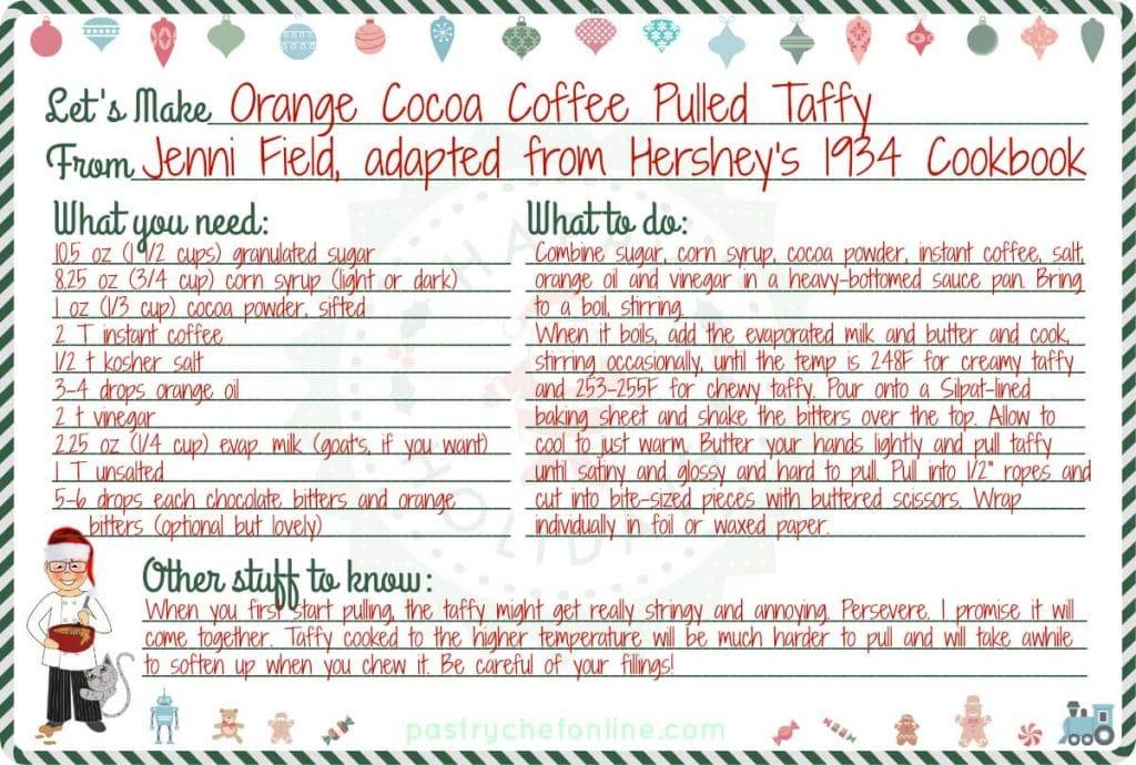 orange cocoa coffee pulled taffy recipe card
