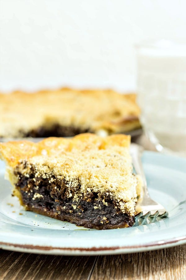 close up of a slice of shoofly pie, dark filling and light streusel on a blue plate