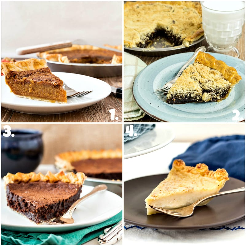 collage of 4 photos of old fashioned pies: cinnamon sorghum, shoo fly, chocolate chess, and sugar cream pie