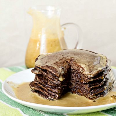Yeast Raised Chocolate Pancakes with Chocolate Chips
