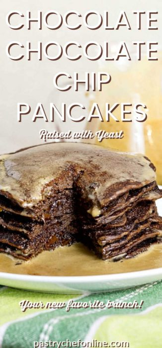 "stack of chocolate pancakes with syrup and a bite cut out. text reads ""chocolate chocolate chip pancakes raised with yeast"""