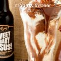 old fashioned tall glass of ice cream and chocolate peanut butter sauce pin image