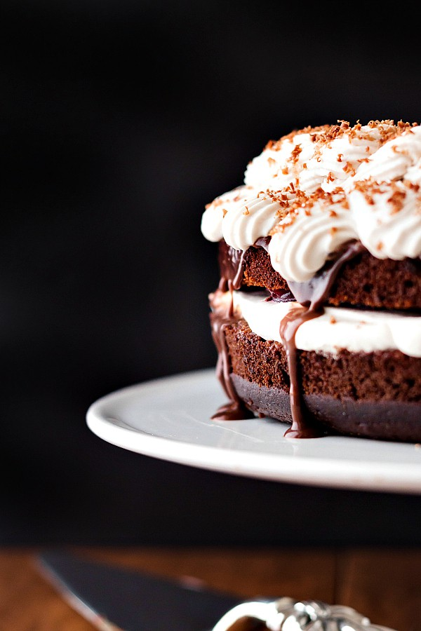 This rich fudgy black forest cake is the original black forest cake's sexy city cousin. Whereas a traditional black forest cake is right at home in a diner's cake case, this version would be appropriate for a fancy restaurant's dessert menu. Give this version a try and up your black forest cake game! | pastrychefonline.com