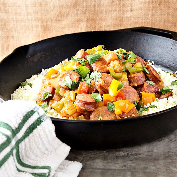 a low carb creamy andouille with cauliflower rice-2a