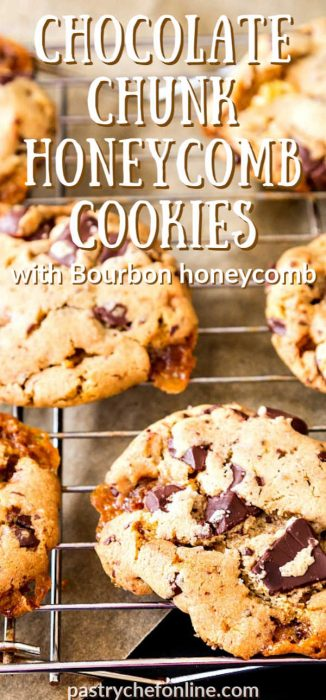 "vertical image of close up of chocolate chip bourbon honeycomb cookies text reads ""chocolate chunk bourbon honeycomb cookies"""