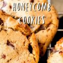"""extreme closeup of cookies cooling on a rack. text reads """"how to make chocolate chunk bourbon honeycomb cookies"""""""