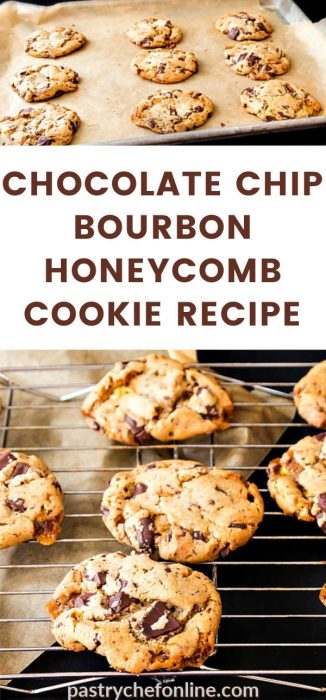 "a tray of cookies and a close up of cookies on a cookie rack text reads ""chocolate chip bourbon honeycomb cookie recipe"""