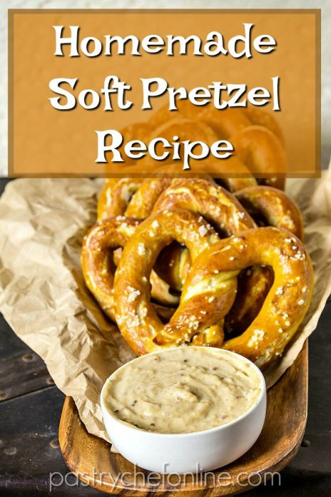 "soft pretzels with cheese dip on a tray text reads ""homemade soft pretzel recipe"""