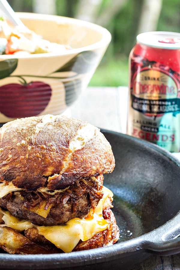 My epic Got to Be NC Burger for Burger Month features a ton of food products made or grown in North Carolina. Guaranteed to feed your soul and your body. I mean: Cheerwine pulled pork, fried pickles, bacon, onion & Cheerwine jam, sweet slaw. It doesn't get much better! Just in time for Memorial Day or any other Epic Grilling Day. Enjoy this juicy and delicious #BurgerMonth burger recipe! | pastrychefonline.com