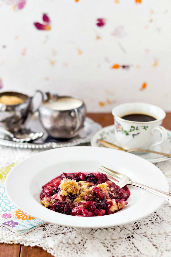 Lavender Mixed Berry Crisp is fruity, not too sweet, floral and a bit savory with herbes de Provence. This fruit crisp recipe is just at home in a cozy bowl as it is on a fancy plate. Enjoy! | pastrychefonline.com