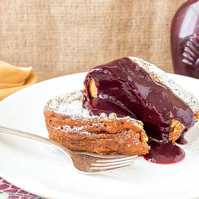 Sunday Brunch Deep Fried French Toast with Peach-Blueberry Sauce