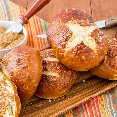 Traditional Pretzel Buns for Burgers and More