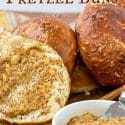 "pretzel bun with mustard text reads ""how to make pretzel buns"""