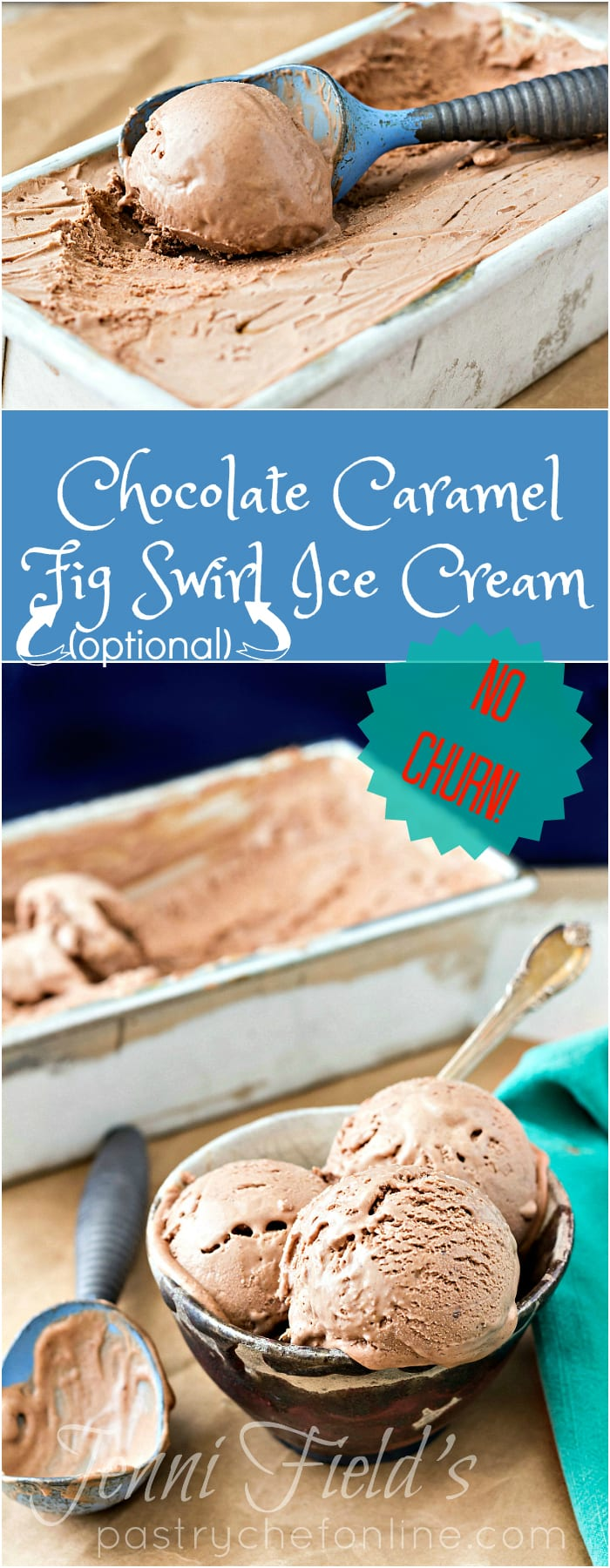 Chocolate Caramel Ice Cream is no-churn, easy to make with only 6 ingredients, and is the best chocolate ice cream you'll ever have. Swirl in any mix-ins you like. | pastrychefonline.com