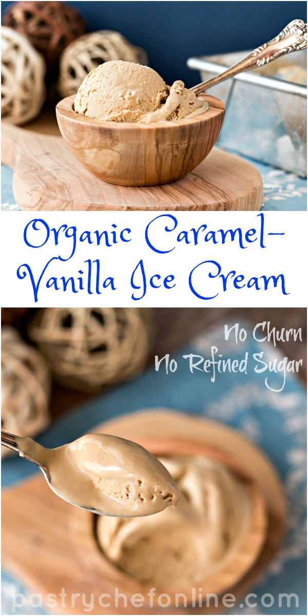 This Organic Caramel Vanilla Ice Cream Recipe is creamy, smooth and delicious. Made with