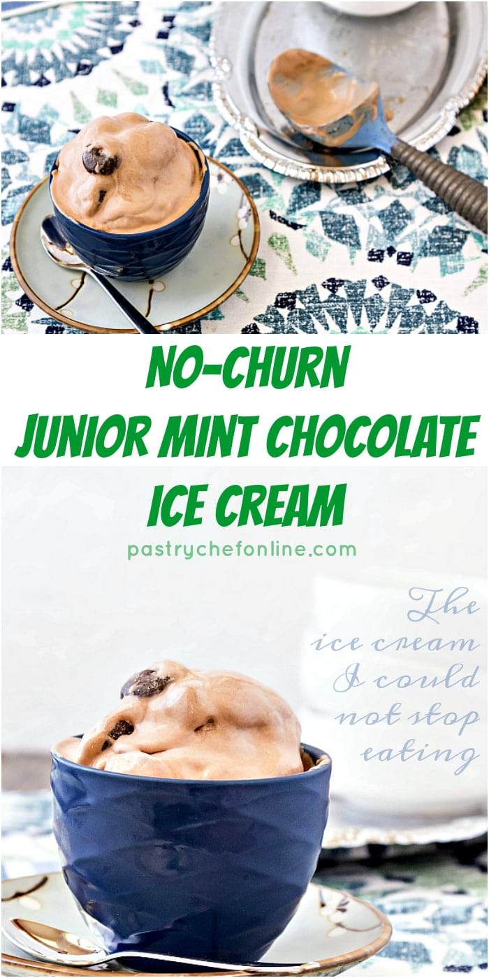 No Churn Junior Mint Chocolate Ice Cream is the ice cream I could not stop eating. The perfect balance of chocolate ice cream and mint with chewy little Junior Mints liberally sprinkled throughout. This is currently my favorite no churn ice cream recipe. I hope it becomes yours too! | pastrychefonline.com