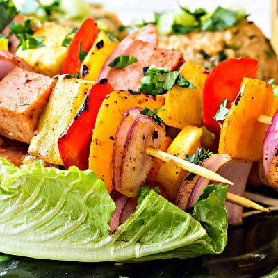 Hawaiian Pineapple Ham Skewers with Sweet & Spicy Pineapple Rice