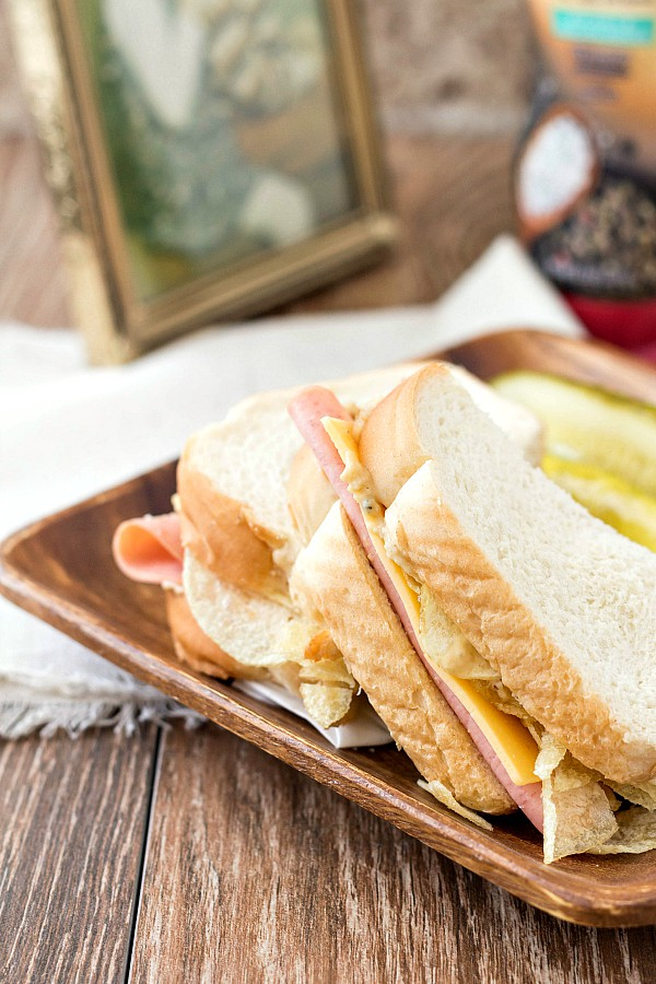 A simple bologna and cheese sandwich is elevated by the memories of my brother I associate with it and the addition of the delicious new #SabraSpreads Thank you for working with me, Sabra! | pastrychefonline.com