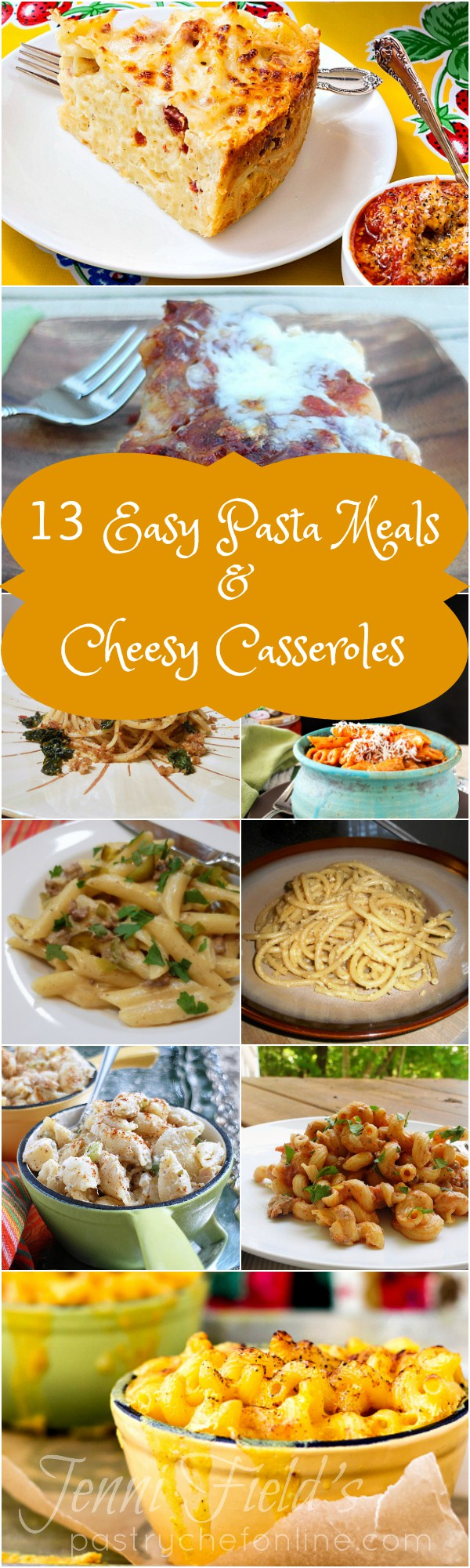 A great reference for both busy weeknights and lazy weekends, this round up of 13 Easy Pasta Meals and Cheesy Casserole recipes will help you make sure that a delicious pasta dinner recipe is always at hand. | pastrychefonline.com