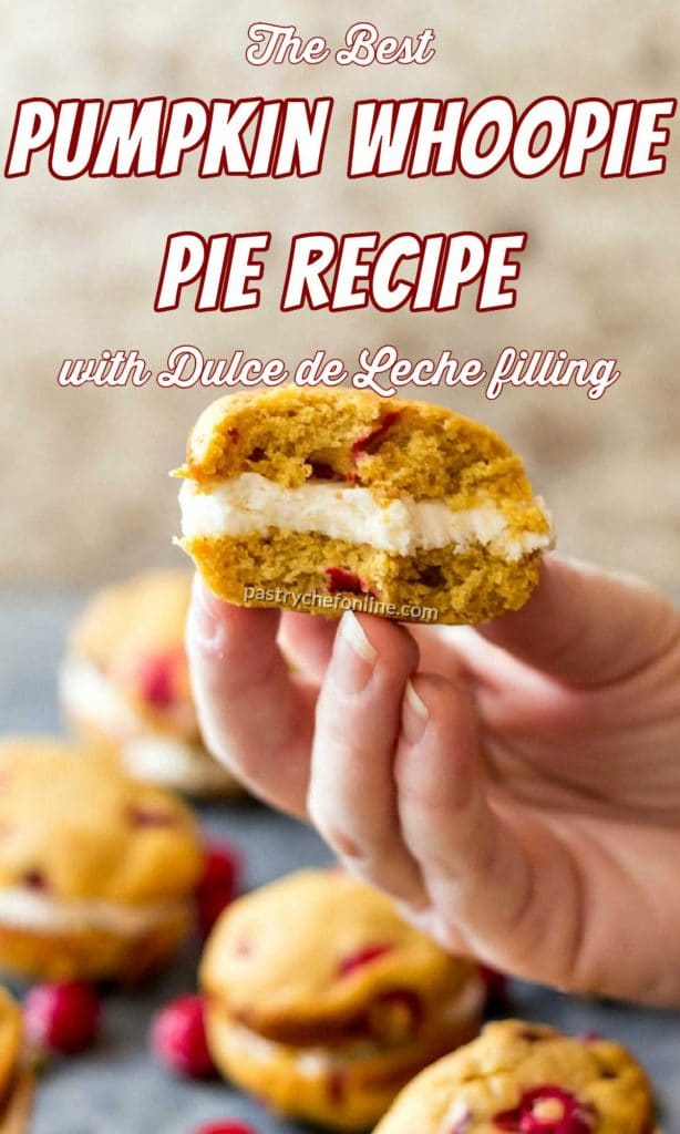 """Hand holding a whoopie pie with a bite taken out of it. Text reads, """"the best pumpkin whoopie pies with dulce de leche filling."""""""