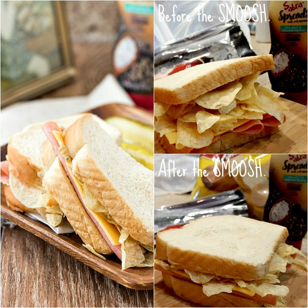 collage of 3 images of a bologna and cheese, one showing potato chips piled on the sandwich, another after you smush the chips down, and a third with the sandwich cut on a plate