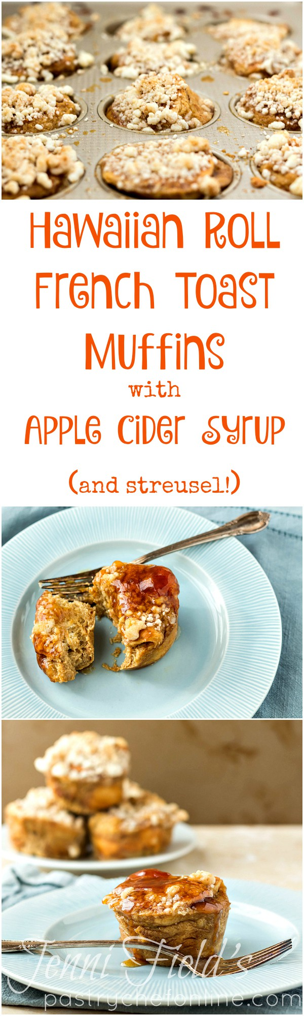 These Hawaiian Roll French Toast Muffins (or Individual Bread Puddings) are topped with buttery, crunchy streusel and get drenched in apple pie spiced apple cider syrup before serving. A decadent brunch treat or a delicious dessert you don't have to share!   pastrychefonline.com