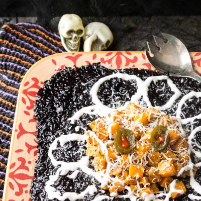 Black Rice Risotto with Butternut Squash | Halloween Risotto