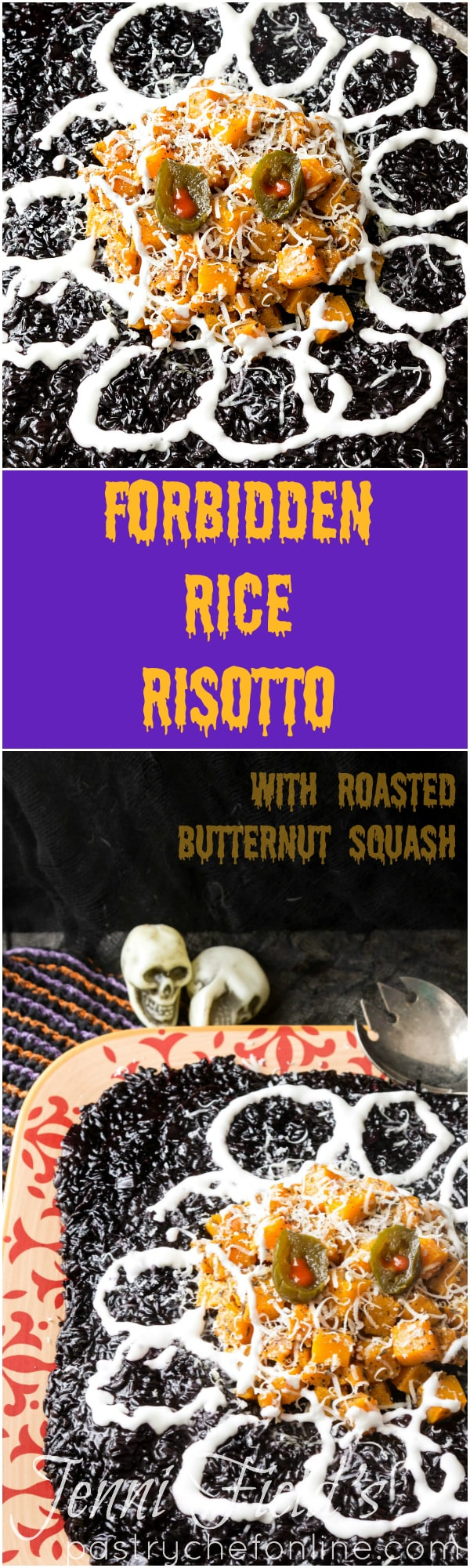 The perfect Halloween dinner party recipe: black rice risotto with roasted butternut squash. Spooky enough to get you in the Halloween spirit yet also an elegant side dish for any dinner party. | pastrychefonline.com