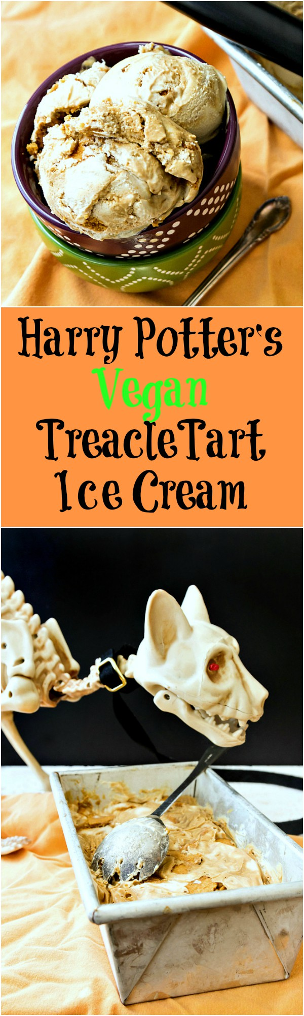 Meet Harry Potter's Vegan Treacle Tart Ice Cream! You know that treacle tarts are Harry's favorite dessert. This is what he'd eat if he wanted ice cream and was having some vegan buddies over to share. Make this Harry Potter-inspired ice cream recipe for your next Halloween Party! | pastrychefonline.com